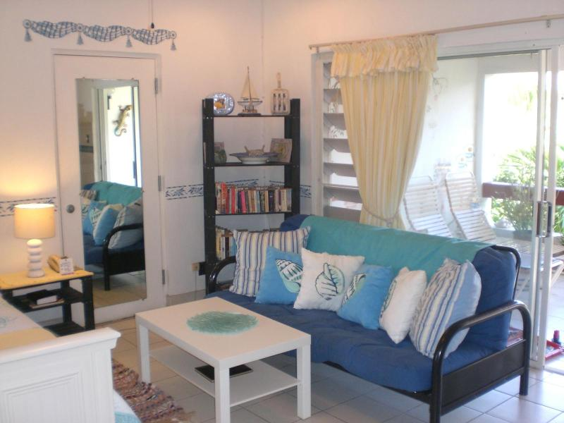 The double sofa bed and seating area