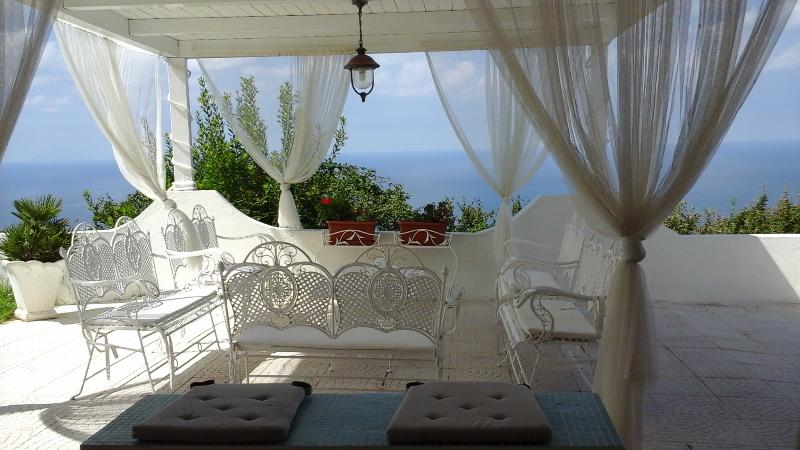 white outdoor seating area