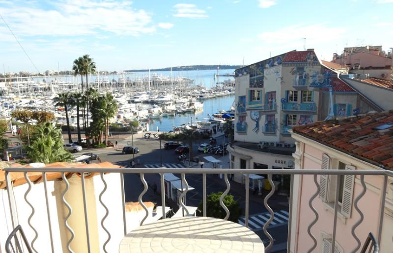 The view of the Old Port of Cannes from the balcony
