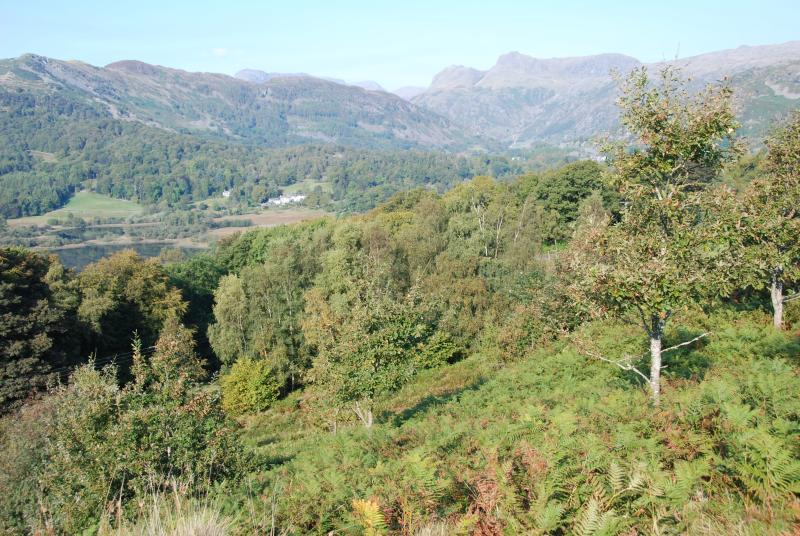 Views over the Langdales within 3 minutes walk of the cabin, perfect for watching the sun go down.