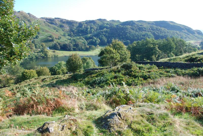 Views over Loughrigg Tarn within 3 minutes walk of the cabin