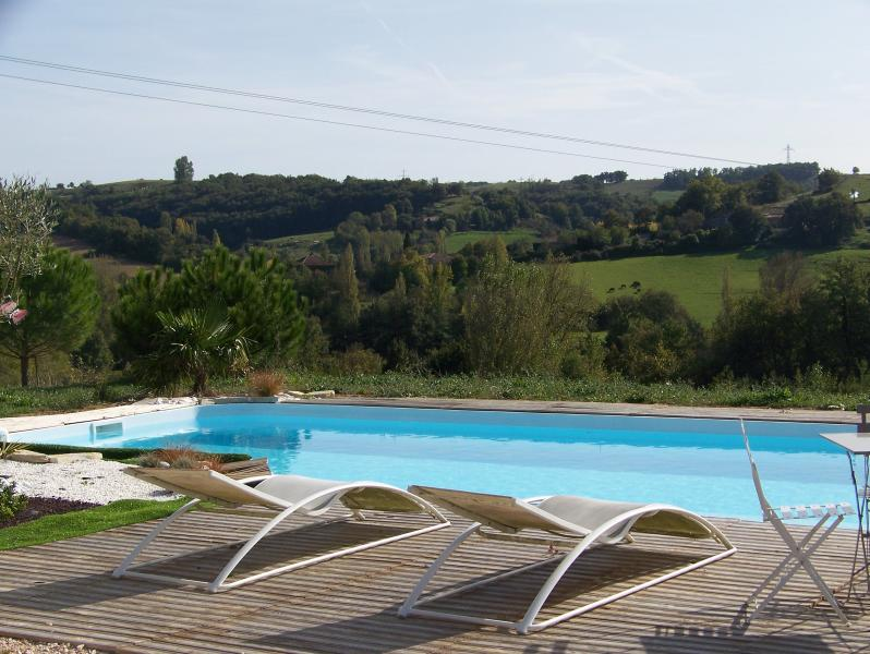 THE SWIMMING POOL WITH A BEAUTIFUL VIEW OVER THE COUNTRYSIDE