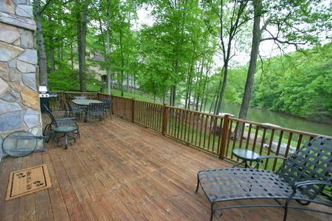 Spacious deck overlooking quiet cove.  Plenty of room to entertain or relax.