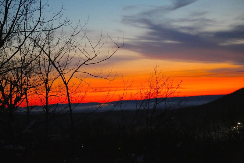 Fabulous sunrises with fog hugging the Delaware River and Shawnee Golf Club's lights on the mountain