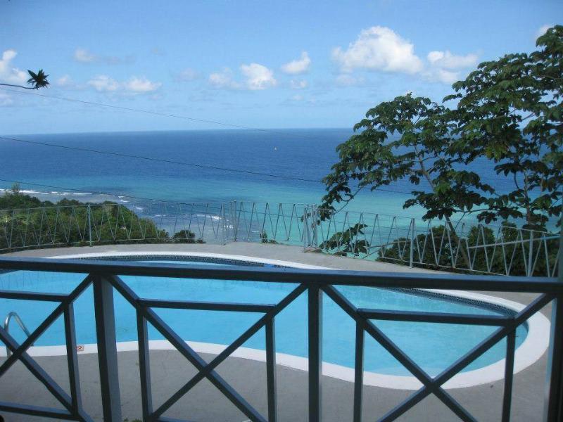 Piscine privée et vue sur l'océan des Caraïbes du patio