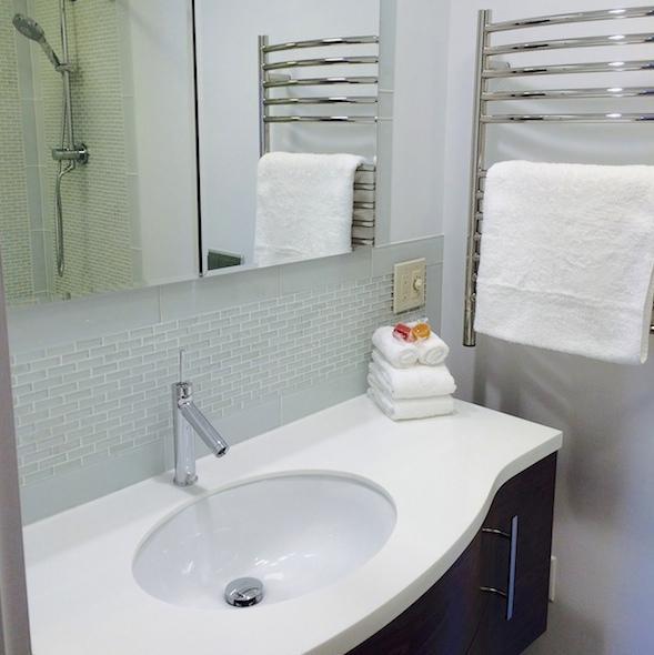 Master Bathroom with Heated Towel Rail, Under Floor Heating, Rain Dance shower head + water fall tap