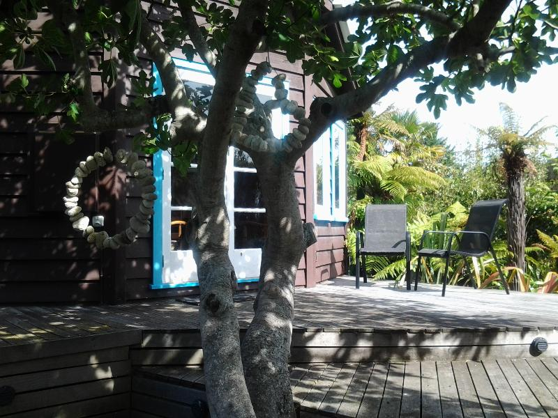 The deck is shaded by a stunning old Fig tree