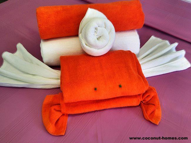 'Mom, there's a crab on my bed!' Towel folding art on your bed at Coconut Homes!