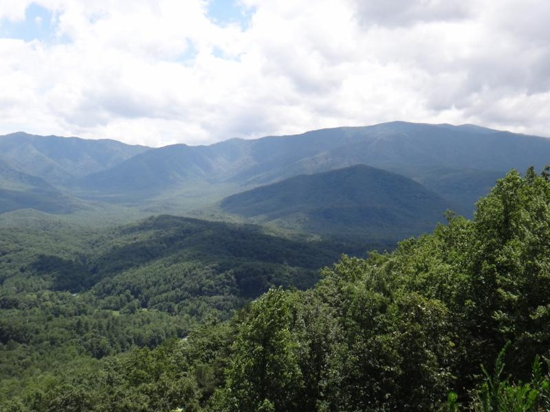 Vista de 50 millas de Mt LeConte y Bluff Mountain