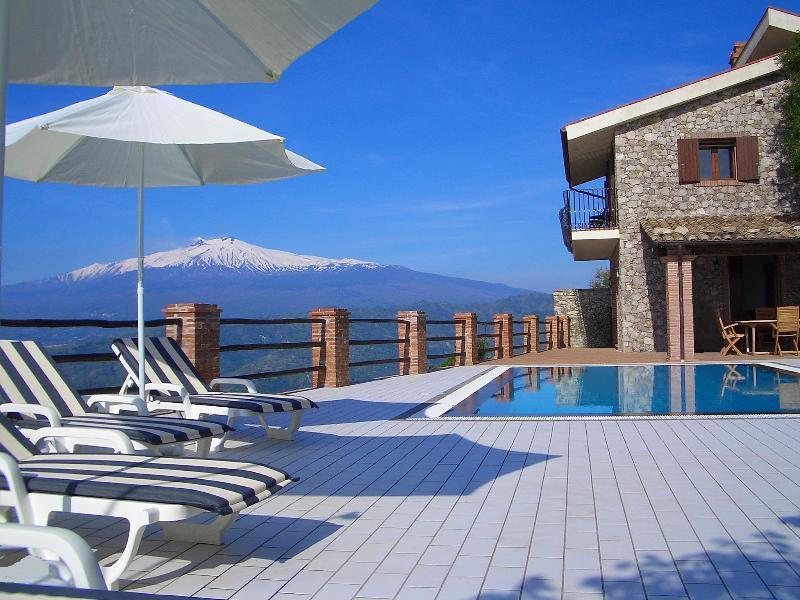 Snow capped Mount Etna, private infinity edge pool and solarium (April)