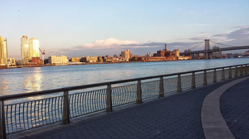 View of Brooklyn from East River Park promenade