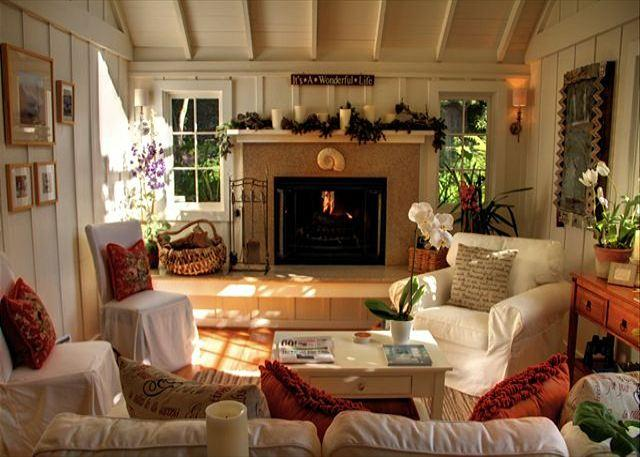Welcome to 'Sanctuary-by-the-Sea'!  Living room with woodburning fireplace and gas kindler. A perfect Carmel cottage.
