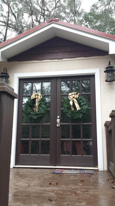 Entry to cottage thru french doors