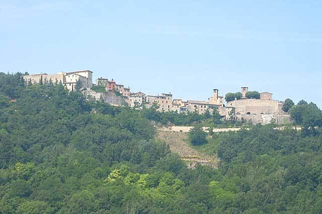 Picturesque Montone on its hill, as seen from Torre di Sotto
