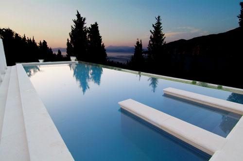 Salt water infinity pool merges with the bay below