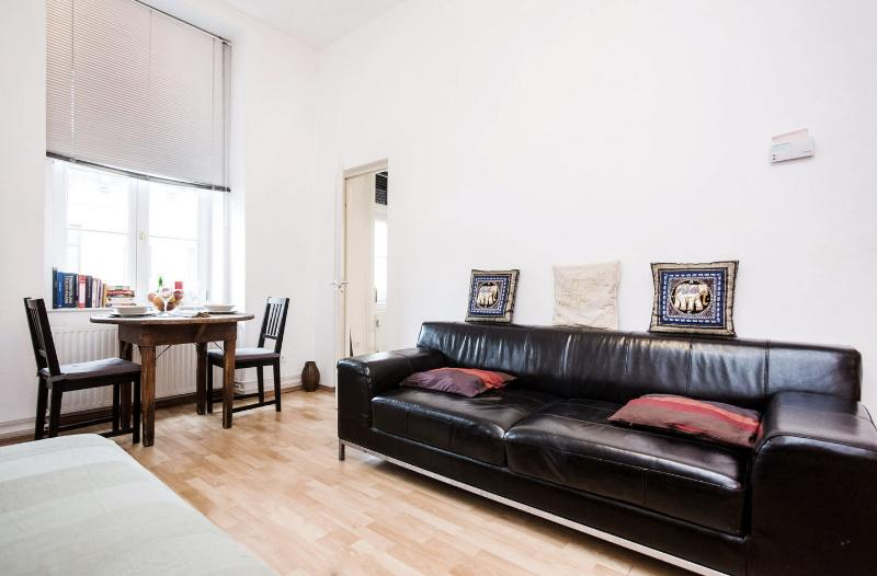 bright, comfy lounge with big leather sofa. a relaxing space after a day of sightseeing