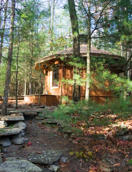 This is the cabin being offered. It's 12 sided, one room, about 160 sq ft. Very private, sculptural.