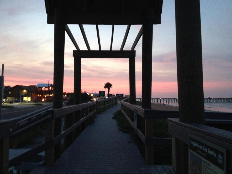 The beach walkway at sunset in Flagler Beach