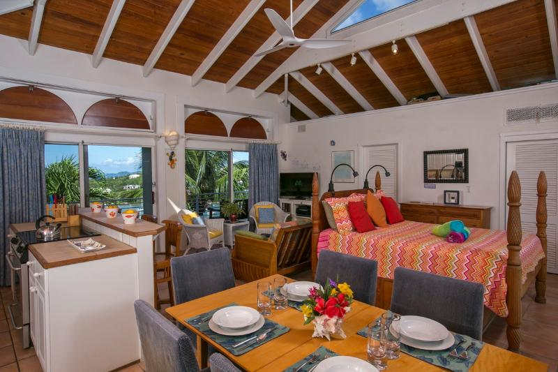 The Owners Suite on the top floor of the Guest House overlooks the Caribbean Sea