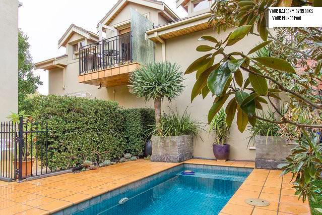 Your balcony overlooks the plunge pool and tropical garden