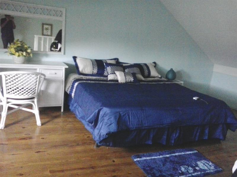 Camera da letto arredata con letto king size, aria condizionata