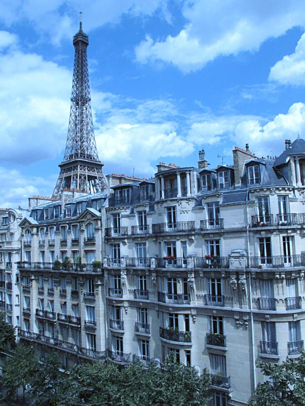 Typical dressed stone buildings of Paris from the dinner place window