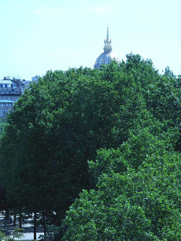 From your bed, view out of the window, the Invalides dome (Napoleon tomb)