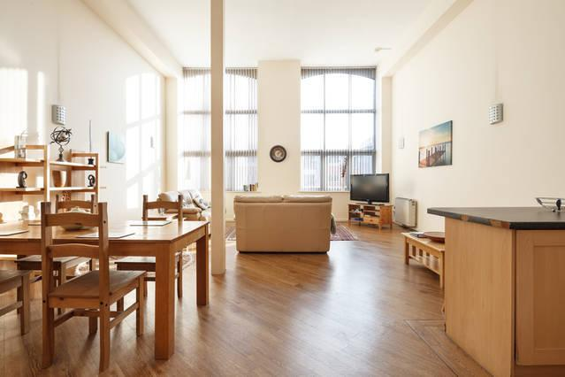Beautiful high ceilings create spacious lounge