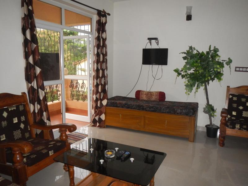 Large living room with kitchen area, satellite TV, sofa bed & balcony