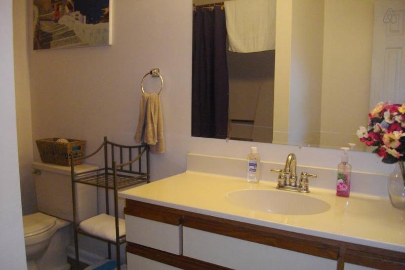 Salle de bain avec douche complète et un grand comptoir