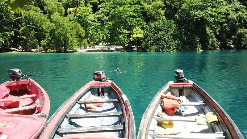 Patrick enjoying the Blue lagoon in Portland Jamaica