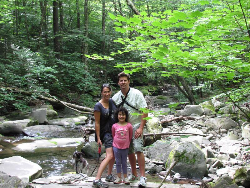 Your hosts, Esme, Corey and Stella enjoying one of the areas many beautiful streams and local hikes.