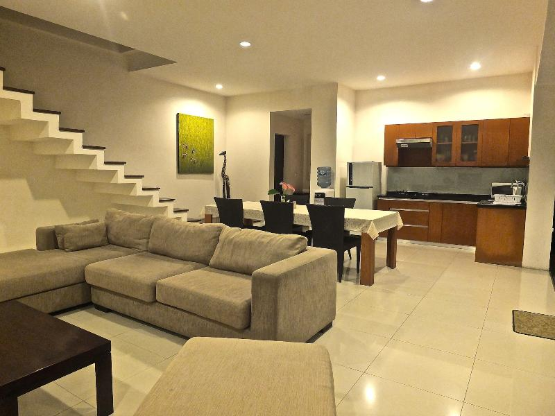 Living Room and Kitchenette area at night time