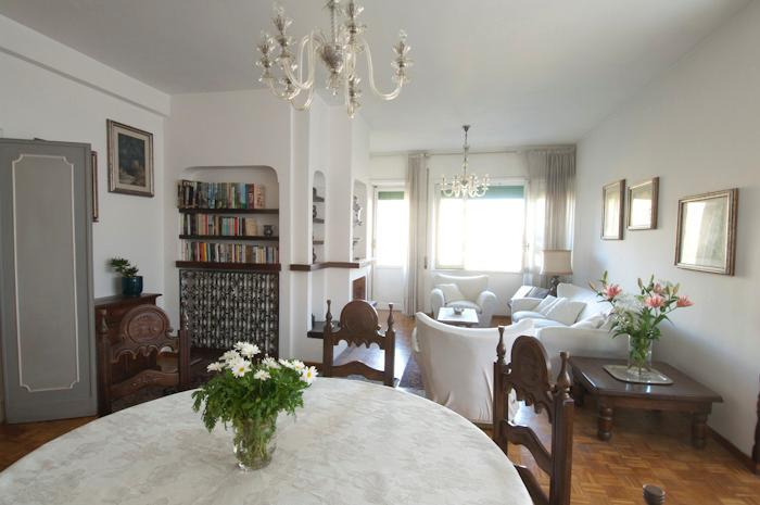 Dining table and view towards the balcony