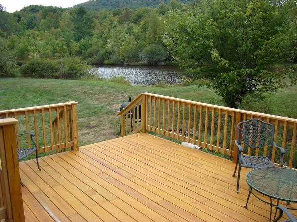 back deck overlooking pond