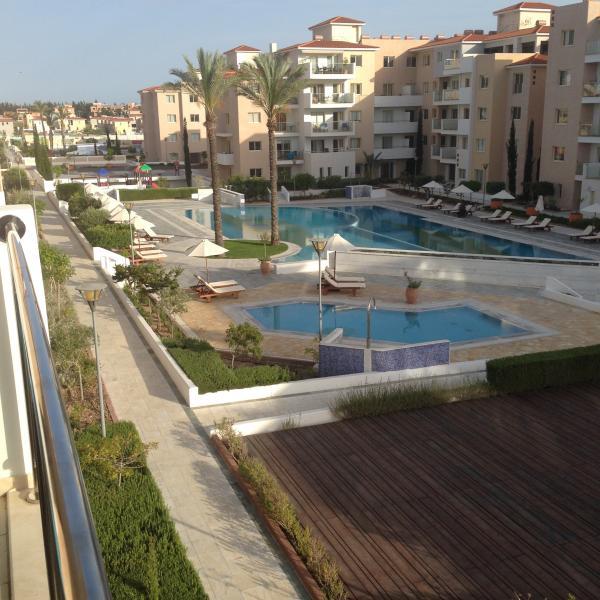 Balcony over looks the pool area
