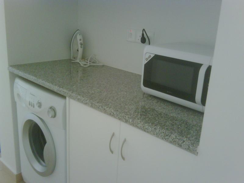 Utility Area with Washing Machine, Microwave, Iron, Ironing board