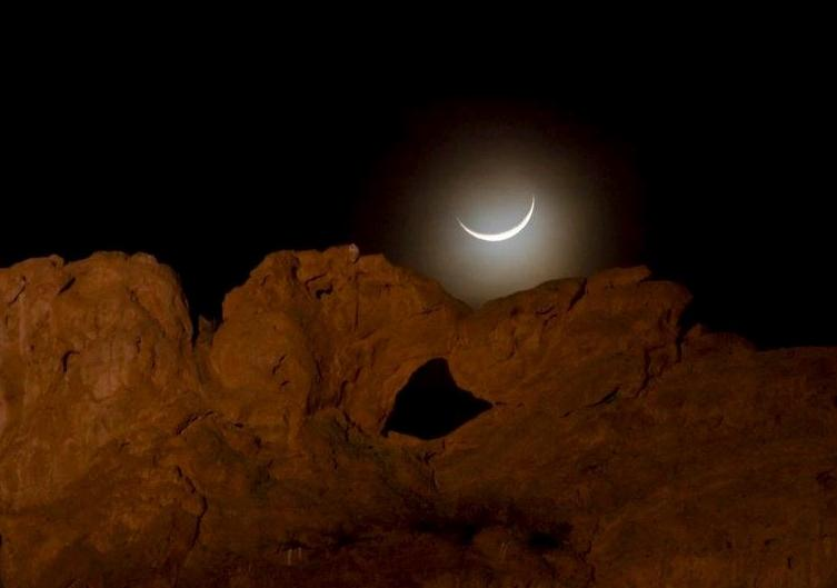 Nearby Garden of the Gods, Kissing Camels at night