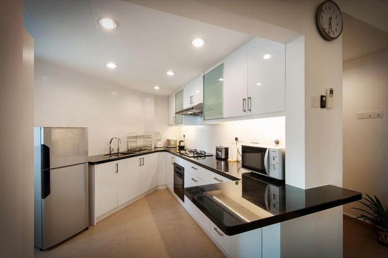 Cozinha com armários de alto brilho, bancada de granito, forno, fogão a gás, microondas, liquidificador, chaleira, etc.