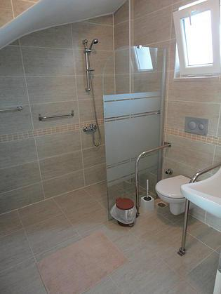 Downstairs bathroom with extras for people with mobility problems.