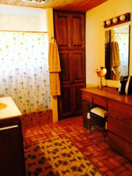 Large spacious bathroom of the loft w/full size bath tub & shower plus vanity & Keurig coffee maker