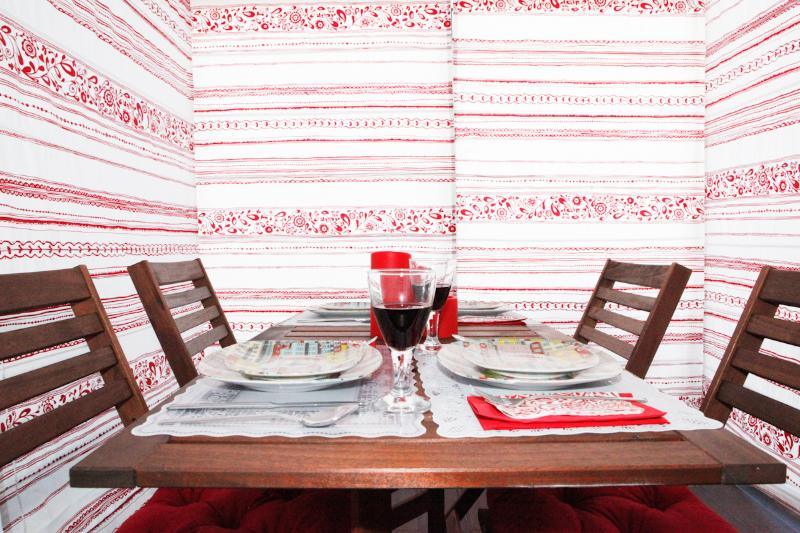 Dining area with net curtains for your total privacy