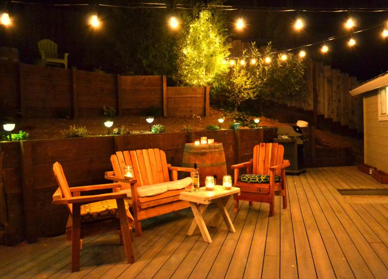 Our warm and inviting backyard at night