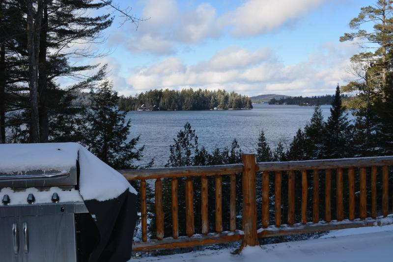 View of the lake from the deck in Winter.  Lake freezes over usually by January, cross country, fish