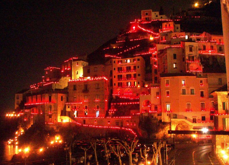 Night view of Minori during Easter holidays