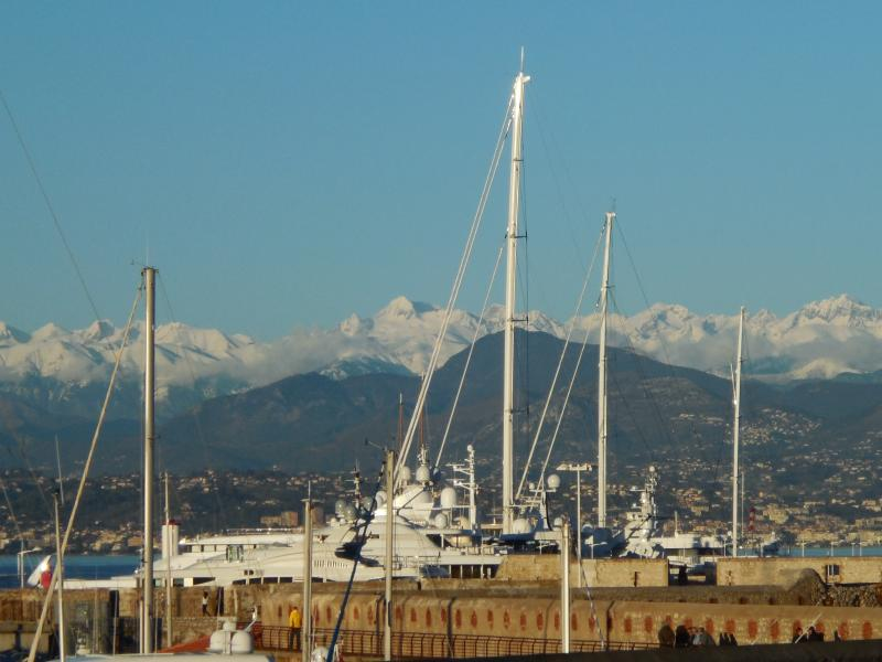 Views of the Mountains in the Winter from Port Vauban