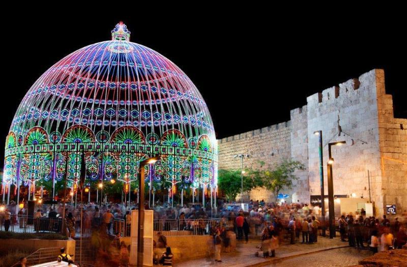 De toren van David tijdens het Jeruzalem licht Festival