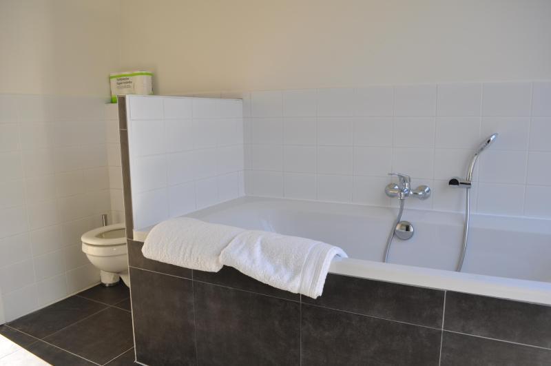 Casa de banho com uma banheira grande e 1 dos 2 banheiros