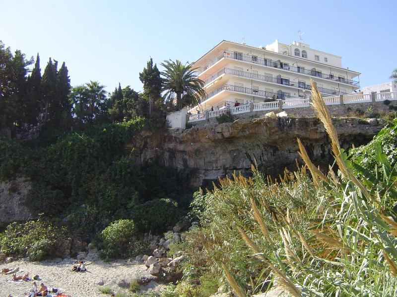 Perfect location. Short stroll from Balcon de Europa. View of Rocamar building from the beach below