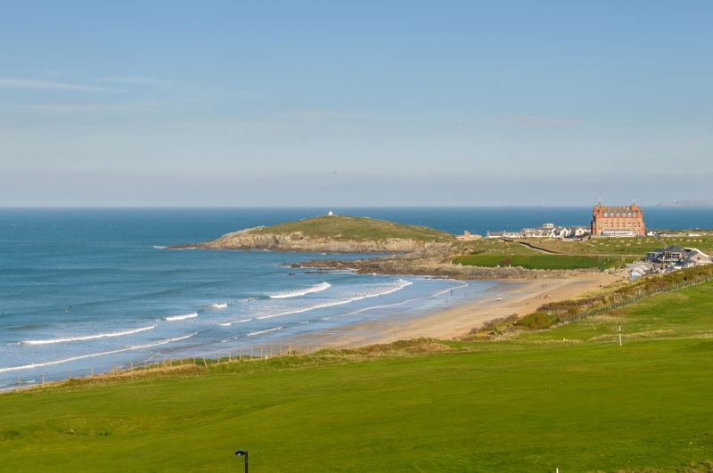 View over Newquay Golf Course and Fistral Beach from shared roof terrace.